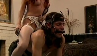 Pony play in the bedroom with a sub dude and dom gal