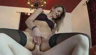 Heels and stockings honey fucked in her pierced cunt