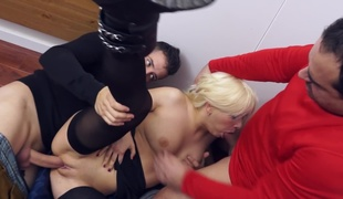 Two amateur dudes are ready to fuck this enchanting looking blondie