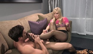babe blonde handjob fetish nylon