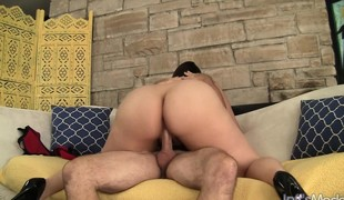 Large breasted brunette Angel rides a throbbing dick with sheer desire