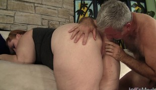 Plumper redhead cougar has a dirty older fellow satisfying her sexual needs