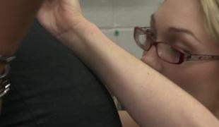Black lesbian boss facesitting geeky white secretary