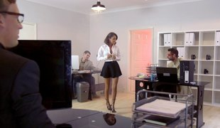 Chic in nylon nylons get banged doggystyle getting her moan noisily in a reality shoot