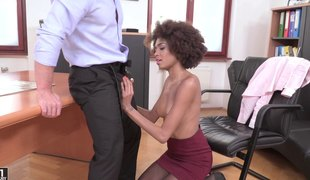 Ebony secretary gets a long ding-dong inside her mouth and her cookie