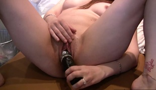 Some very hot close up shots of a hotty rubbing and toy fucking her little pussy