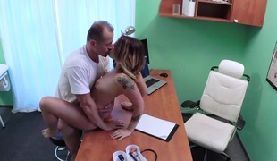 Patient Orgasms Pussy Juice on Desk