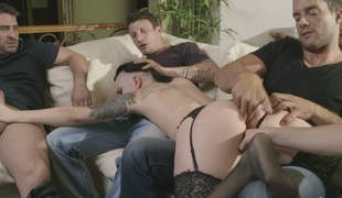 Tattooed whore wife Rachael Madori is screwed by cuckold husband and his allies