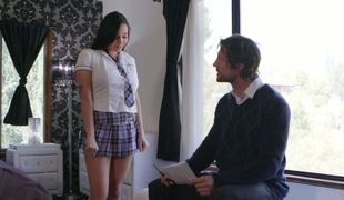 Teacher spanks sex appeal Karly Grey and cums on her valuable boobies