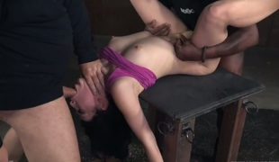 Appetizing tied up doxy Aria Alexander is punished in the dark sadomasochism room
