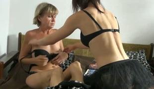 Cute young gal Vendi is having dirty lesbo sex with old nanny Miranda