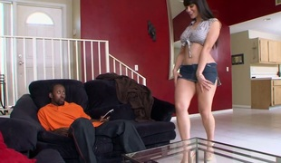 Busty dark brown MILF Miss Raquel hammered hard with bbc