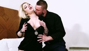 Lusty blonde enchantress Tamara Grace banged hard in ottoman