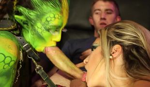 Gorgeous green alien and a slut share cock on the spaceship