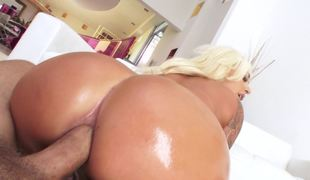 Big tanned wazoo is bent over and ready for doggystyle anal