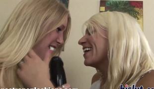 Two horny blondes have some bedroom fun