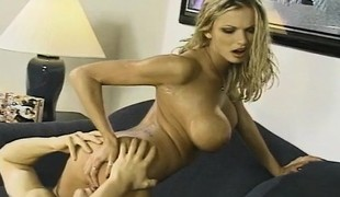 Brianna Banks plays with a sex toy while a hard cock explores her ass