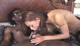 Seductive nympho Marie Luv welcomes a giant darksome rod in her narrow arse