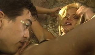 Spanish blonde calls over a ally to eat her out and team fuck her snatch