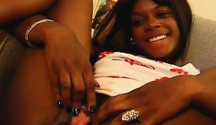 Black babe gets licked and dicked with a hard pounding black pecker