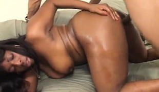 Cute black babe with saggy tits likes to get nailed deep from behind