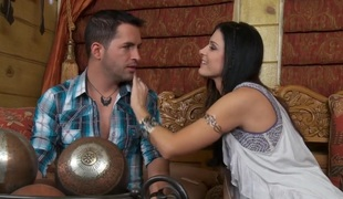 Raven haired beauty India Summer makes a romantic scene with her lover. She's kissing her guy and is then having her cunt fingered. She's truly in the mood to make love.