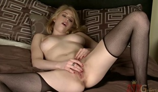 Golden-haired Allie James wants this solo sex session to final forever