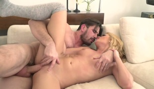 Manuel Ferrara uses his sturdy weenie to bring Abby Cross to the height of enjoyment after blowjob
