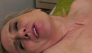 Old golden-haired bitch drilled hard in the stinky butthole