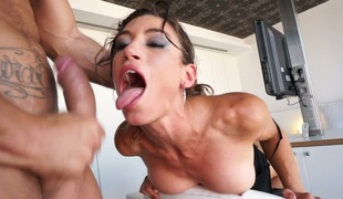 Dissolute dark brown slut Julia Roca gets pleased by her horny buddy