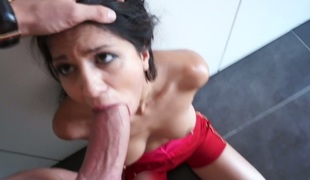 Irresistible damsel Julia de Lucia gives some nice blowjob
