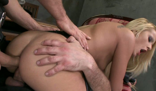 2 men in police uniform fuck Chary Kiss in different positions