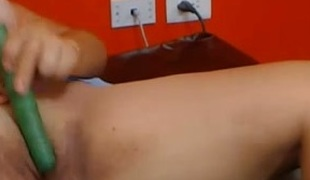 Bootylicious lusty and perverted webcam bitch teased herself with toy