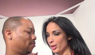 His huge black cock bonks her perfect wet pornstar pussy