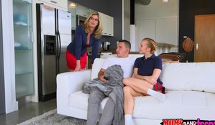 Milf joins the hot legal age teenager and her chap for a great trio