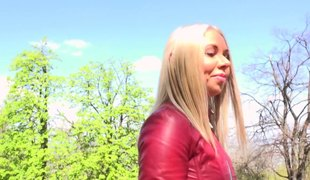 Super cute Russian blonde girl receives screwed outdoors