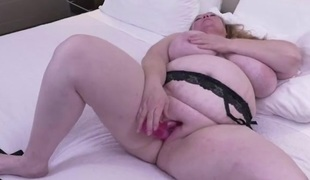 Solo BBW slut in underware has sexy dildo sex