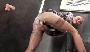 Dildo play babe covered in a layer of white cum