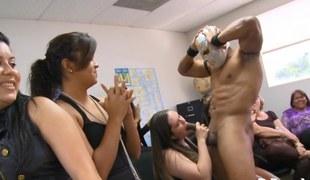 Masked stripper gets blown by daring office ladies