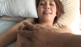 Pretty Oriental mother i'd like to fuck sucks on hard schlong and her hairy cunt fingered