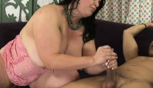 Chunky housewife has a hung black man deeply pounding her tight holes