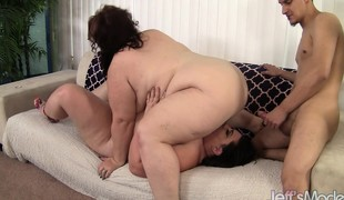 Hefty bitches Lynn and Bella in a FFM 3some getting cum on their billibongs