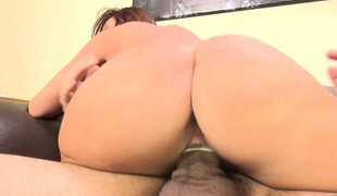 Britney Amber vibrates her love button while fucking and chews on his knob