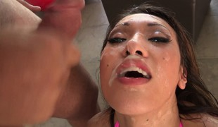 Blowjob queen Jayden Lee does her magic deep throat on 3 rods
