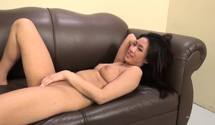 Exotic nympho with big scones Amber buries a long dick inside her wet crack