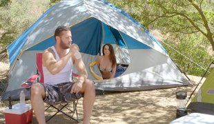 Camping slut invites her man in the tent to fuck her