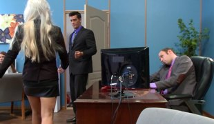 Bleach blonde secretary with a biggest back tattoo fucked at work