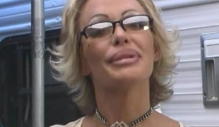 Captivating pornstar with nice gazoo riding huge dick hardcore on bed