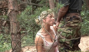 Big breast german stepmom gets wild screwed by a black dick in the forest