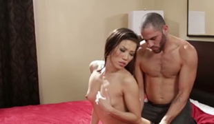 Petite Asian sex doll Kalina Ryu had stout oral-service with beefcake American guy in hotel room